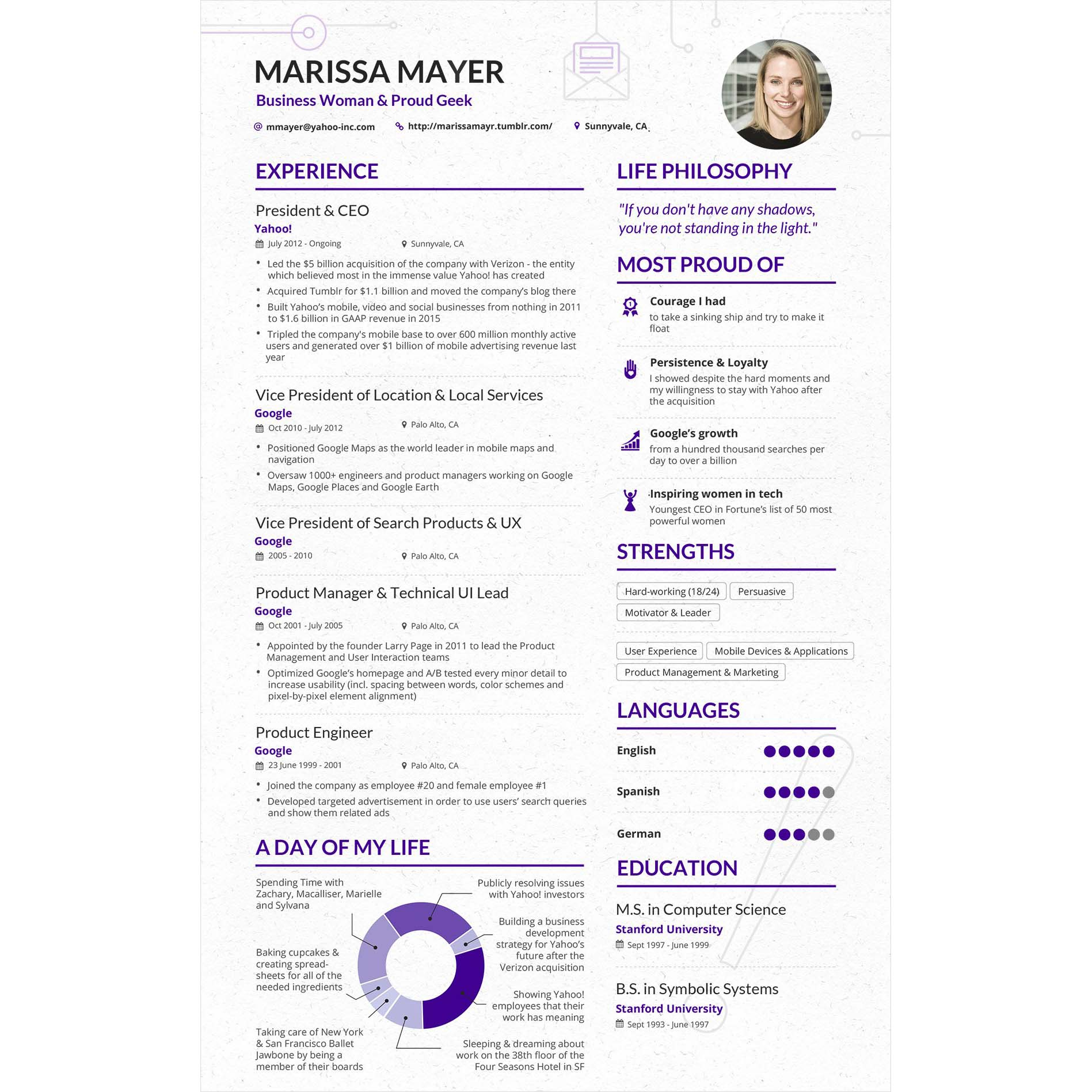 le cv de marissa mayer  ceo de yahoo   comporte 19 d u00e9fauts